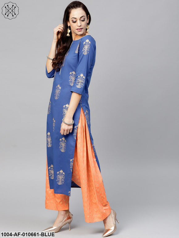 Women Blue Three-Quarter Sleeves Keyhole Neck Straight Pure Cotton Kurta And Palazzo With Dupatta Set