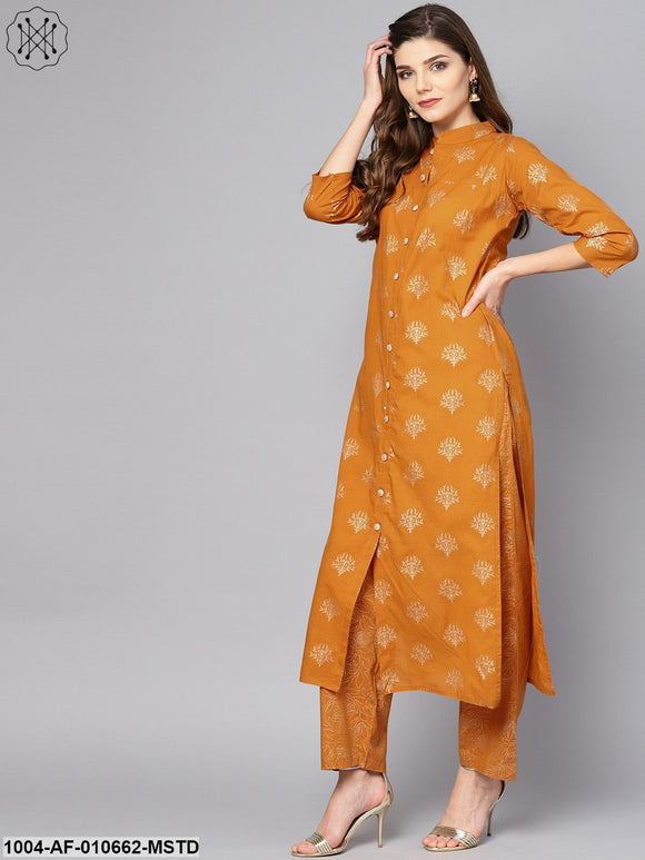 Women Mustard Three-Quarter Sleeves Mandarin Collar Straight Pure Cotton Kurta And Palazzo Set
