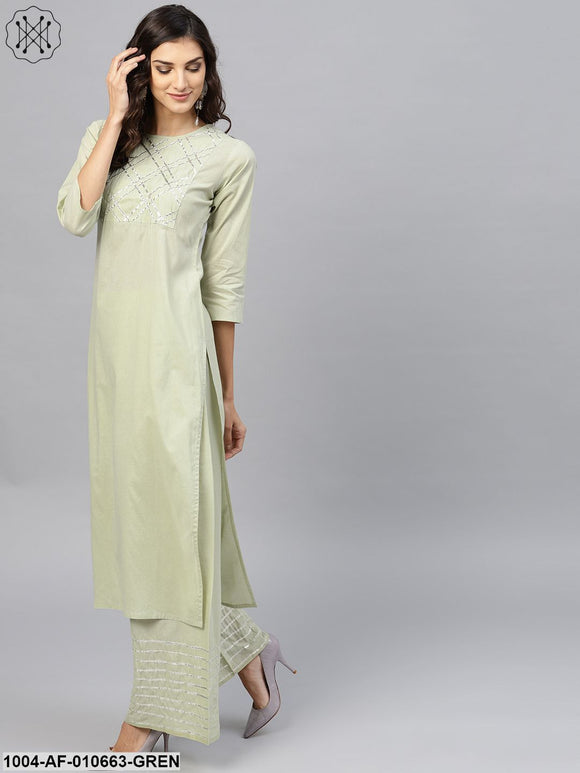Women Sea Green Three-Quarter Sleeves Round Neck Straight Pure Cotton Kurta And Palazzo Set