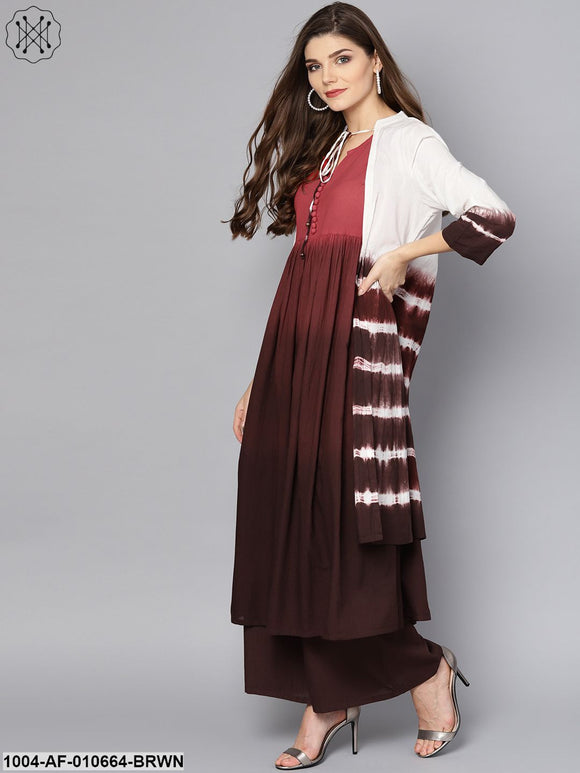 Women Brown Three-Quarter Sleeves Mandarin Collar A-Line Pure Cotton Kurta And Skirt Set