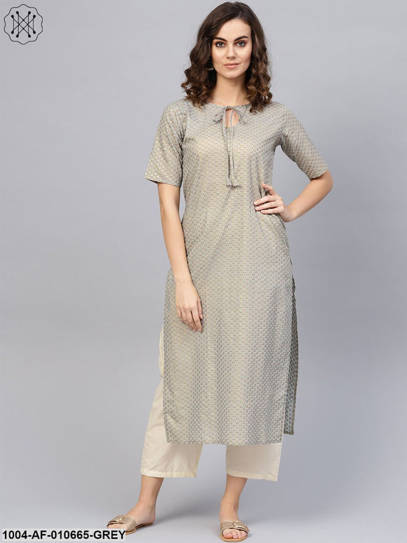 Women Grey Short Sleeves Keyhole Neck Straight Pure Cotton Kurta And Trousers Set