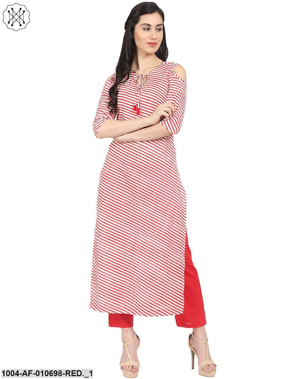 Red Striped 3/4Th Sleeve Cotton Kurta With Red Straight Palazzo