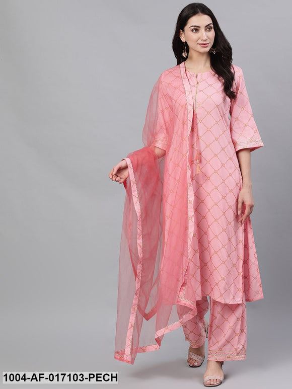 Peach Three-Quarter Sleeves Straight Kurta Palazzo With Dupatta