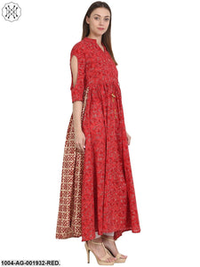 Red Printed 3/4 Sleeve Cotton Anarkali Kurta