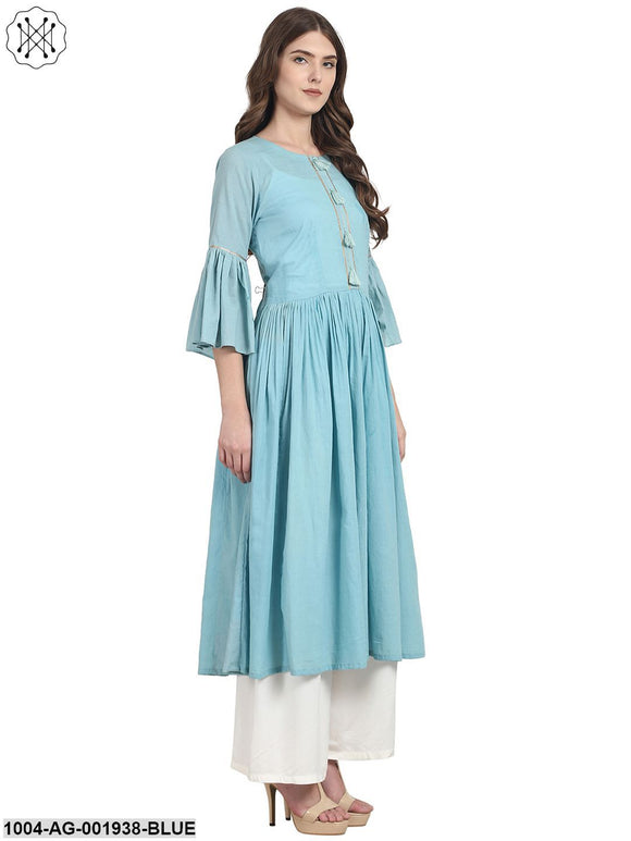 Blue 3/4 Sleeve Cotton Anarkali Kurta