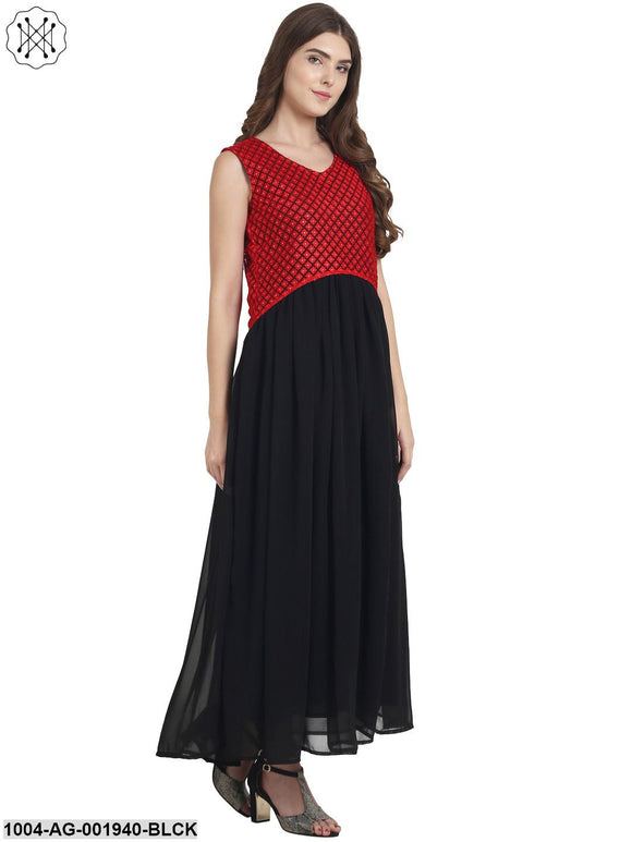 Black Sleeveless Georgette With Cotton Line Anarkali Kurta With Net Work At Yoke