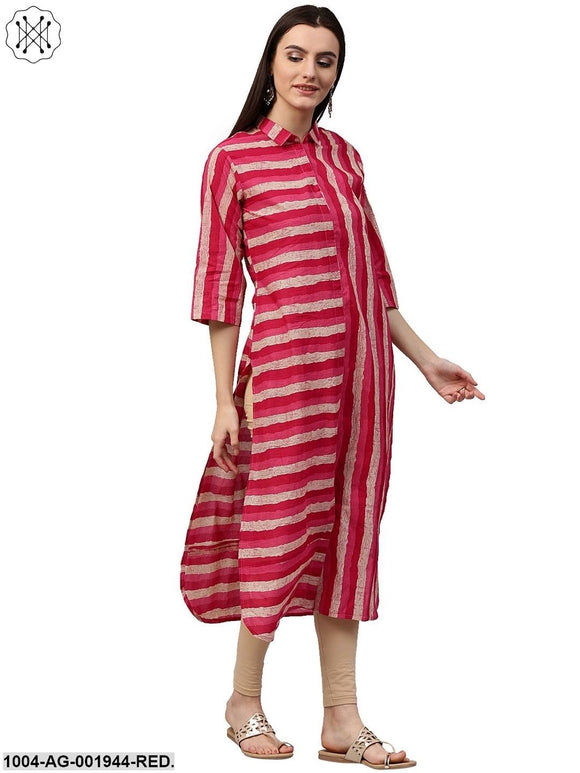Red & White Printed Sleeveless Cotton Slub Anarkali Kurta