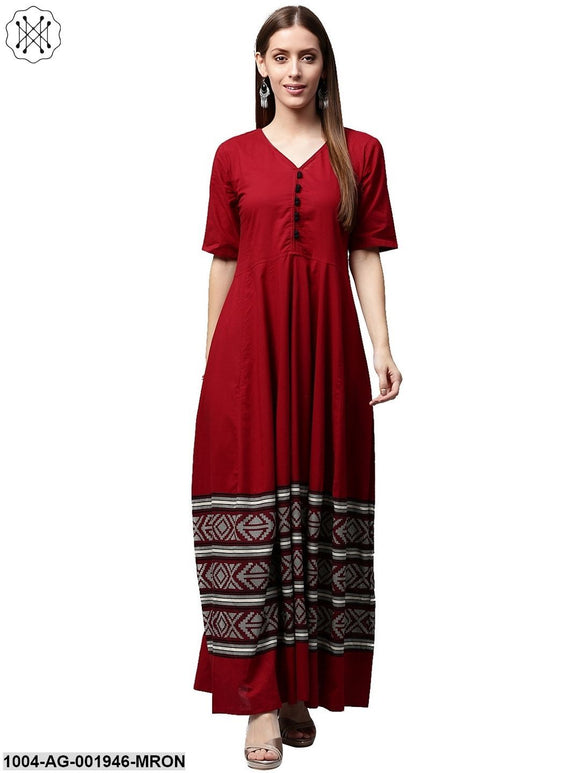 Maroon Printed Half Sleeve Cotton Anarkali Kurta