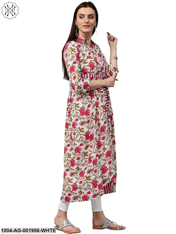 White Floral Printed 3/4Th Sleeve Cotton Anarkali Kurta