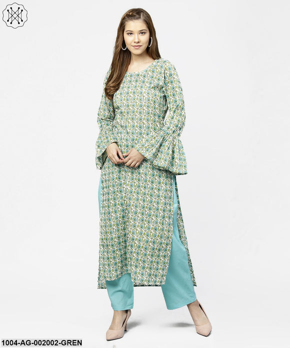 Green Printed Full Sleeve Cotton Long Straight Kurta