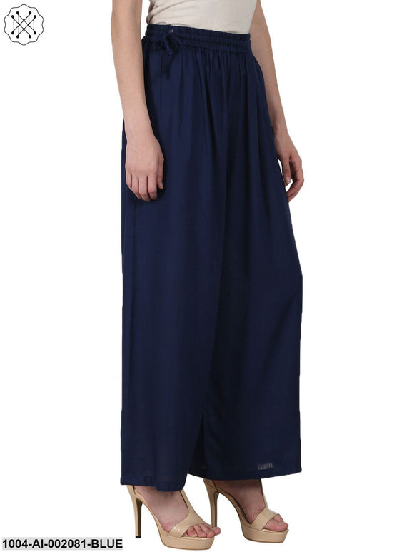 Navy Blue Ankle Length Rayon Straight Palazzos