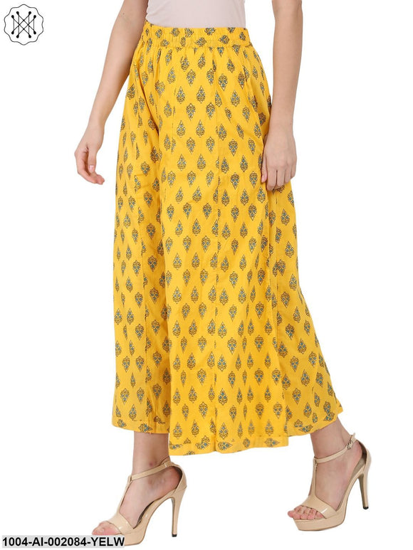 Yellow Printed Ankle Length Cotton Palazzos