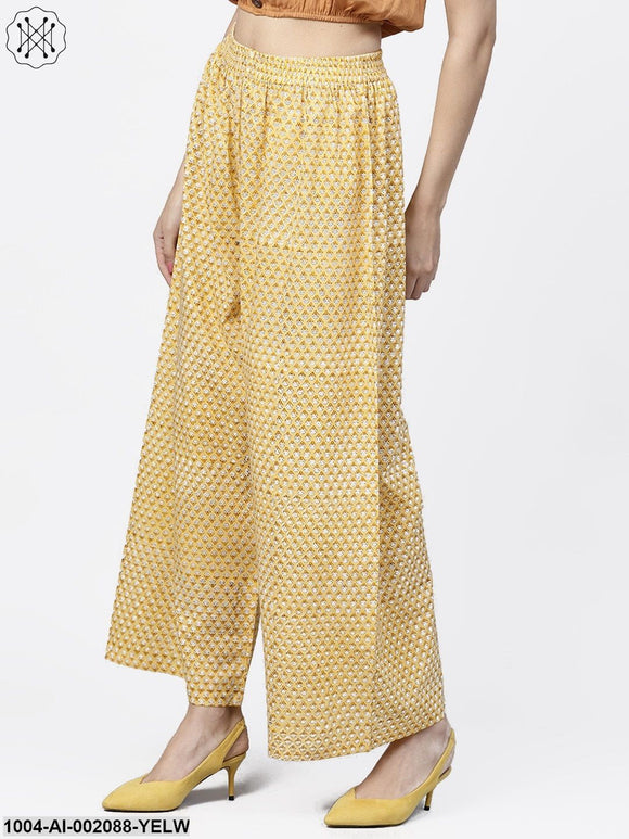 Yellow Printed Ankle Length Cotton Regular Fit Palazzos