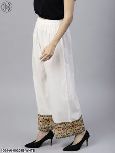 White Ankle Length Cotton Regular Fit Palazzos With Border Printed
