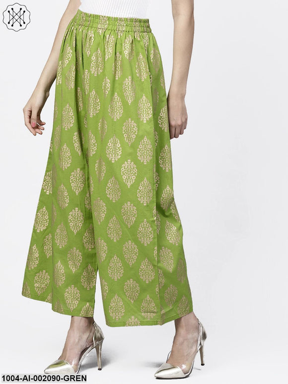Green Khari Gold Printed Ankle Length Palazzos