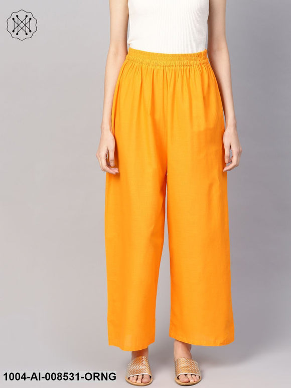 Solid Orange Cotton Ankle Length Palazzo