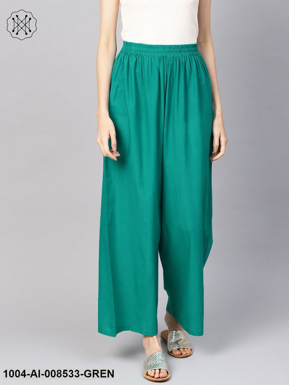 Solid Green Cotton Ankle Length Palazzo
