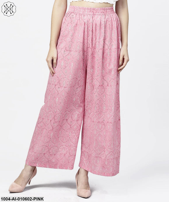 PinkPrinted Ankle Length Cotton Regular Fit Palazzo