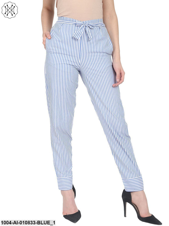 Blue Striped Cotton Slim Fit Palazzo