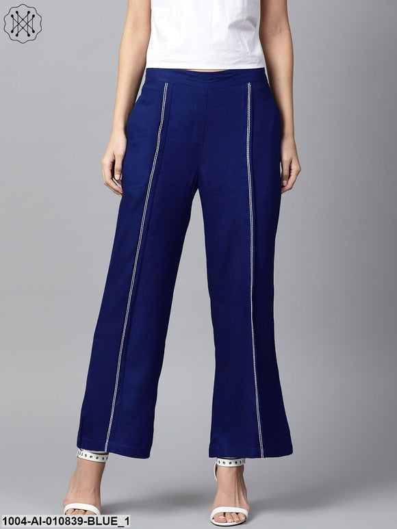 Women Blue Solid Wide Leg Palazzos