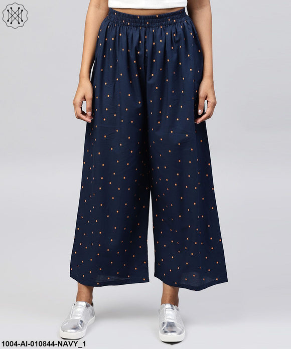 Navy Blue Printed Cotton Ankle Length Pallazo