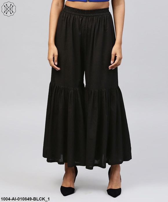 Solid Black Cotton Ankle Length Sharara