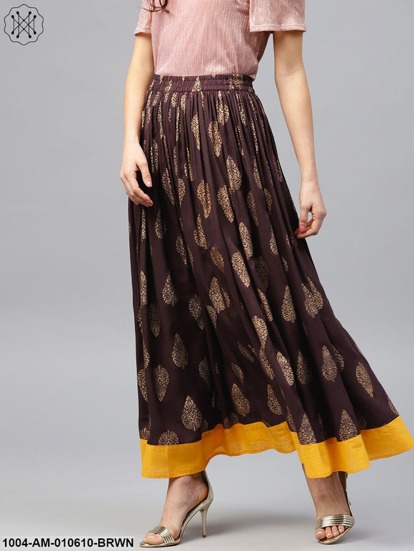 Chocolate Brown Printed Flared Skirt