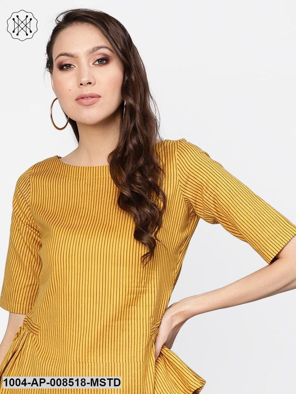 Mustard Striped Print Boat Neck Top With Side Gathers Detailing