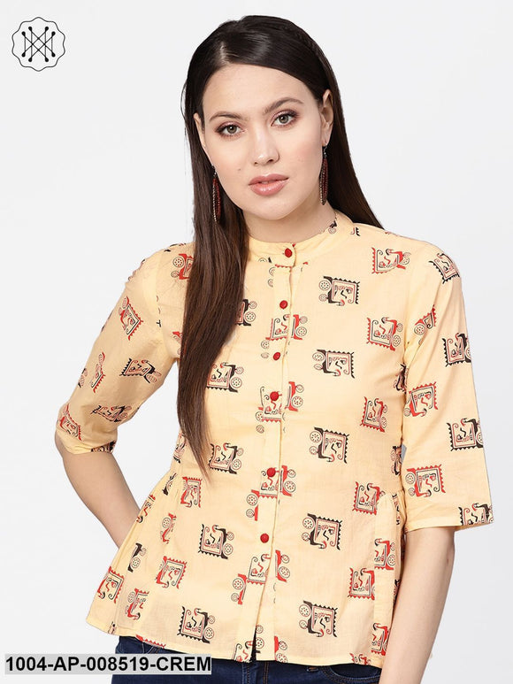 Cream Quirky Printed 3/4Th Sleeves A-Line Top
