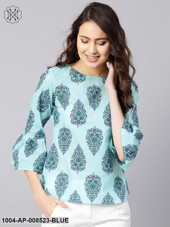 Sky Blue Printed Round Neck Flared Sleeves Top