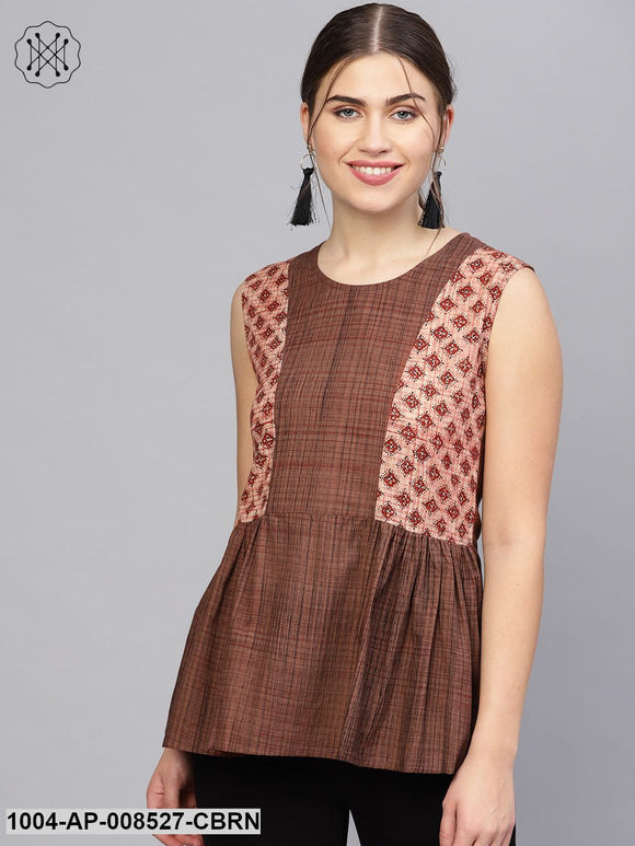 Coffee Brown Printed Cotton Sleevless Tops