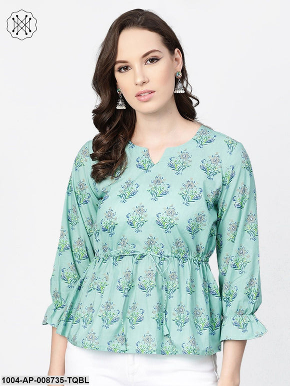 Mint blue with multi floral printed top with drawstring style