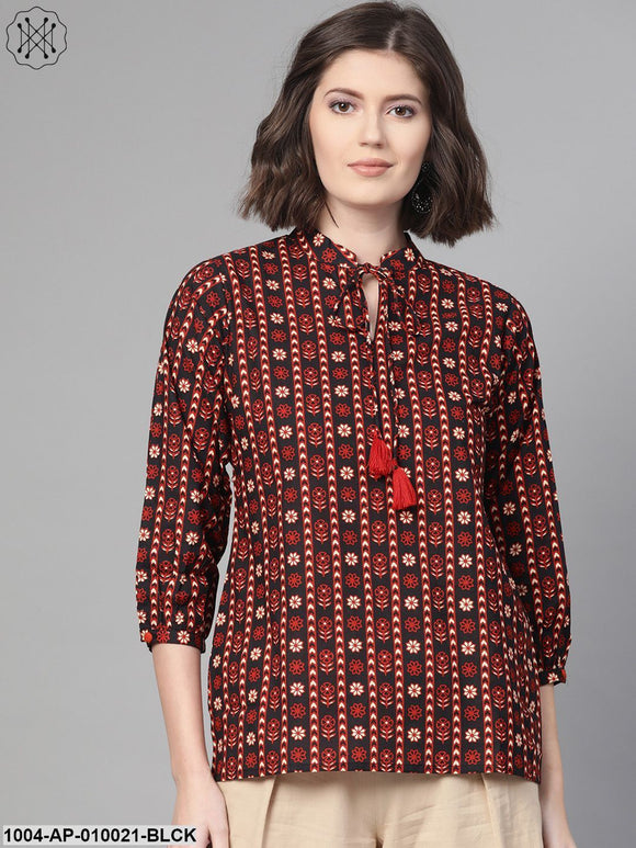 Women Black & Rust Regular Printed Top