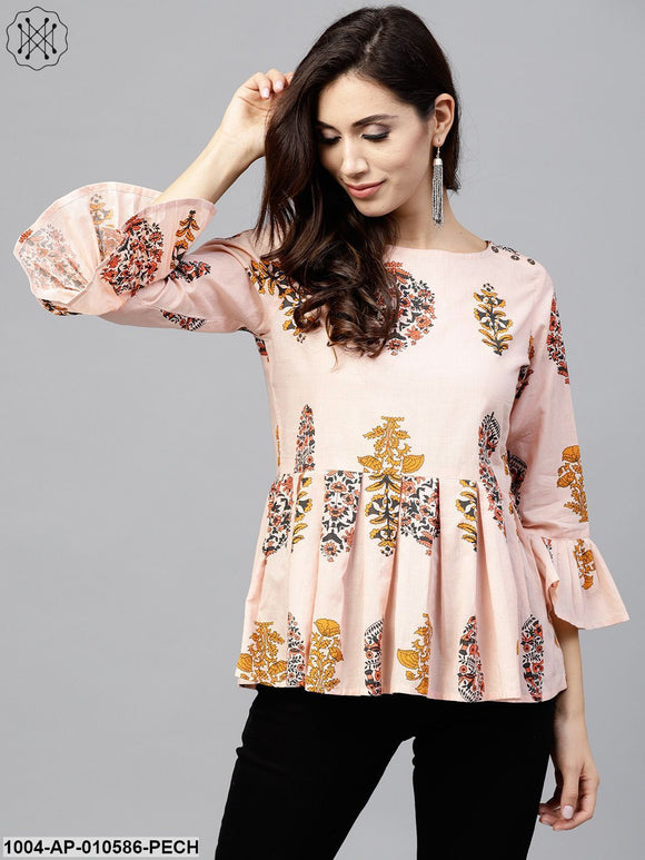 Peach Printed Top With Round Neck And 3/4 Sleeves