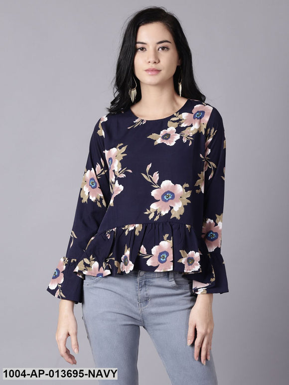 Navy Blue Casual Printed Round Neck Top