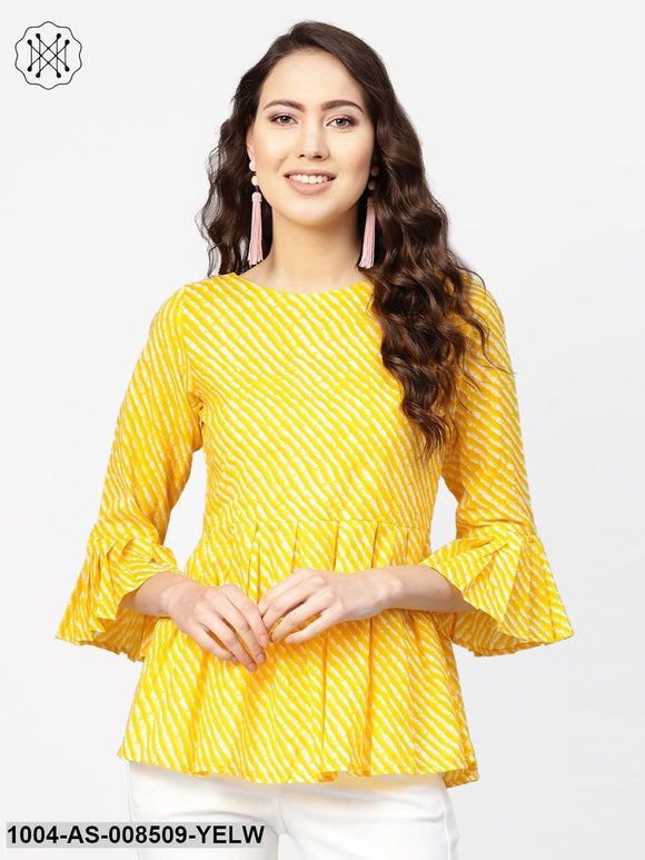 Yellow And White Leheriya Printed Boat Neck Flared Sleeves Pleated Tunic