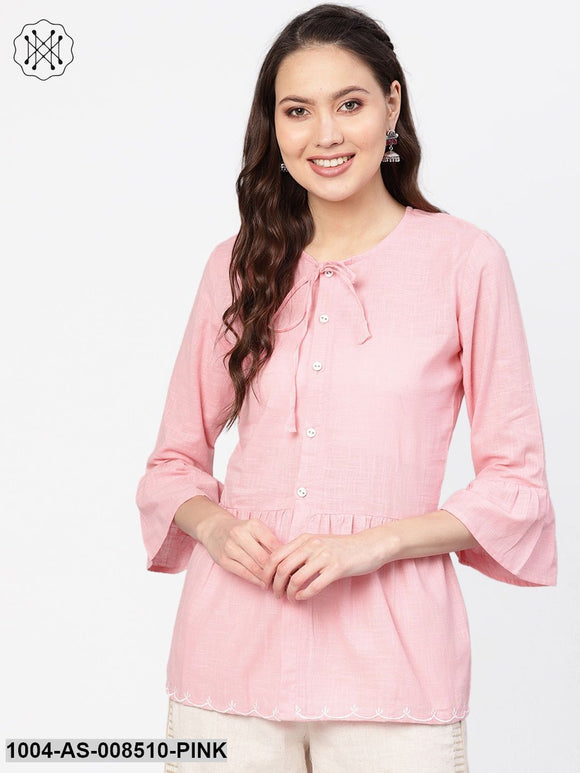 Solid Light Pink Tunic With Dori Detailing And Embroidery Work At Hemline