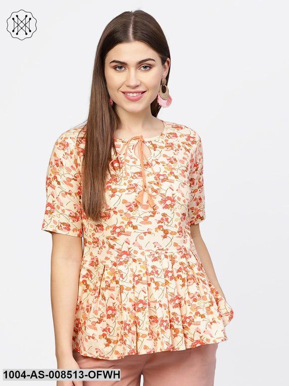 Off White & Pink Printed Cotton Half Sleeve Tunic