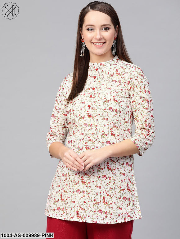 Women White & Pink Cotton Printed Mandarin Collar Tunic