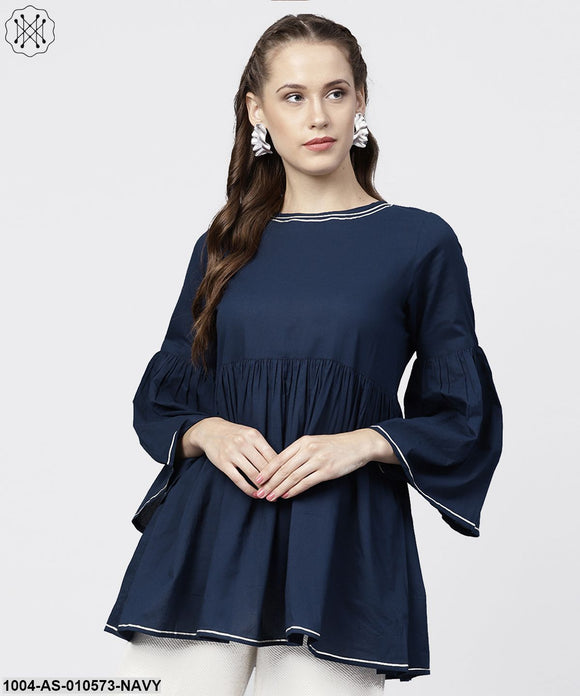Women Navy Blue Solid Round Neck Long Sleeves Cotton Tunic