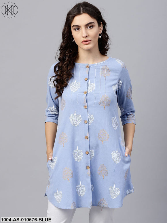 Women Blue Printed Round Neck Three-Quarter Sleeves Cotton Tunic