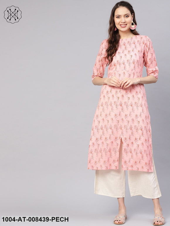 Peach Floral Printed 3/4Th Sleeves Boat Neck Multi Slit Straight Kurta