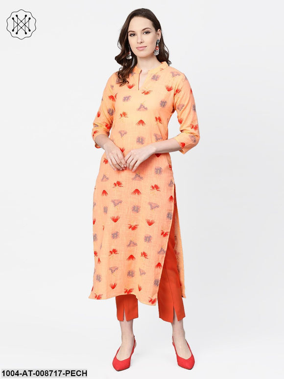 Peach Multi colored printed Kurta with Mandarin collar with 3/4 sleeves