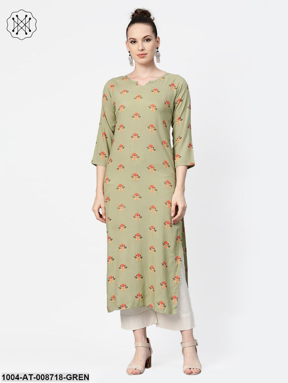 Olive green Multi Colored Printed Kurta with Round Neck with V & 3/4 sleeves