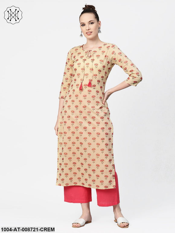 Cream with multi floral printed kurta with keyhole neckline