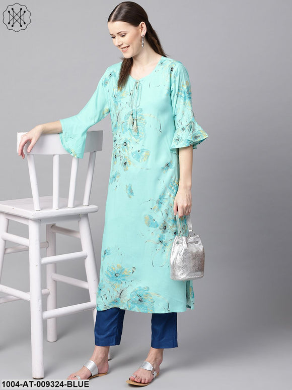 Sky Blue Floral Foil Printed Round Neck With V-Slit And Tassels Detailing Flared Sleeve Straight Kurta