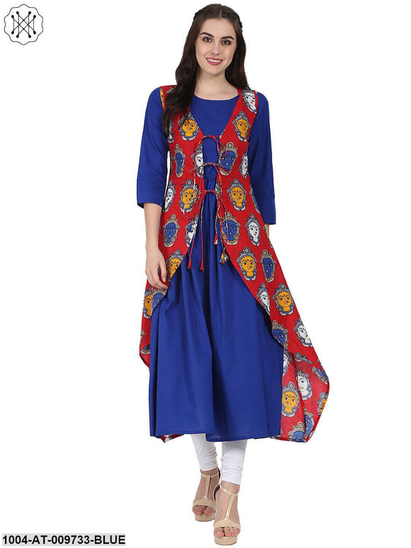Blue 3/4Th Sleeve Cotton Anarkali Kurta With Red Printed Jacket