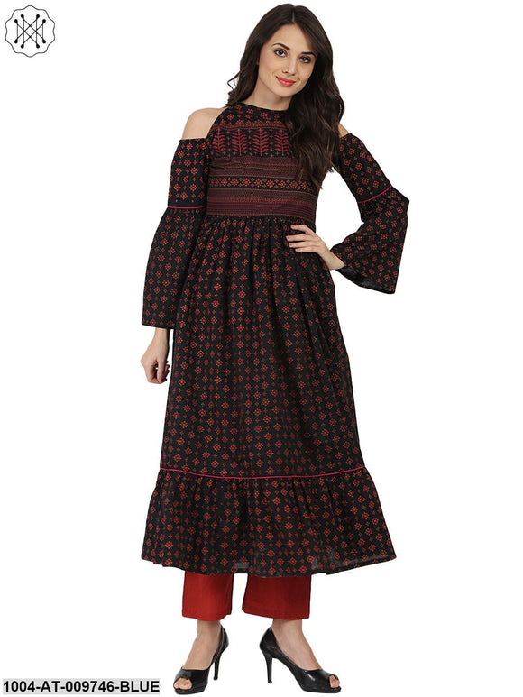 Blue Printed Full Sleeve Cold Shoulder Cotton Anarkali Kurta