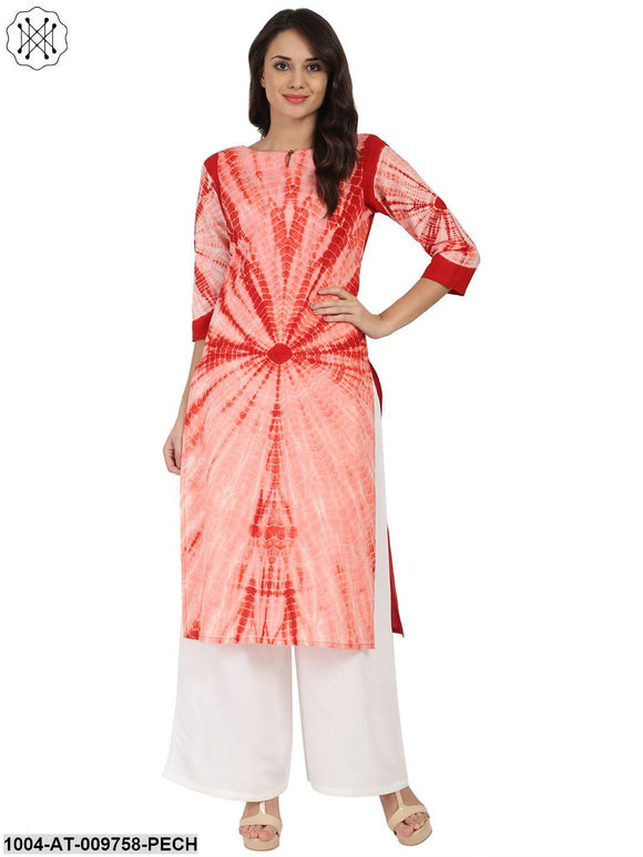 Peach Tie Dye 3/4Th Sleeve Cotton Kurta