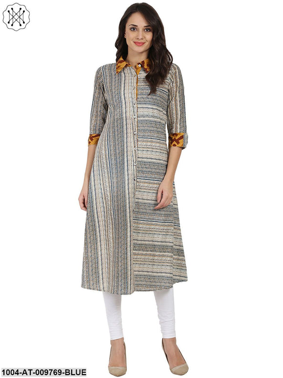 Blue Printed 3/4Th Sleeve Cotton A-Line Front Open Kurta